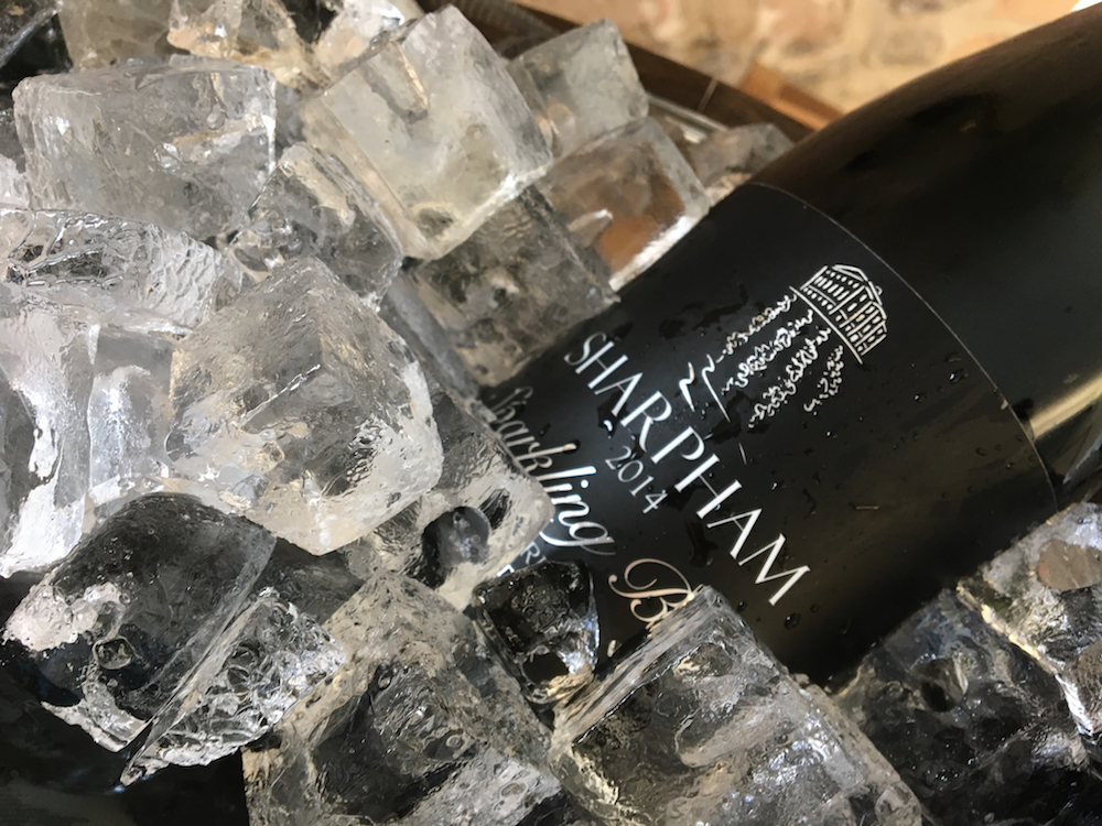 sharpham sparkling wine on ice
