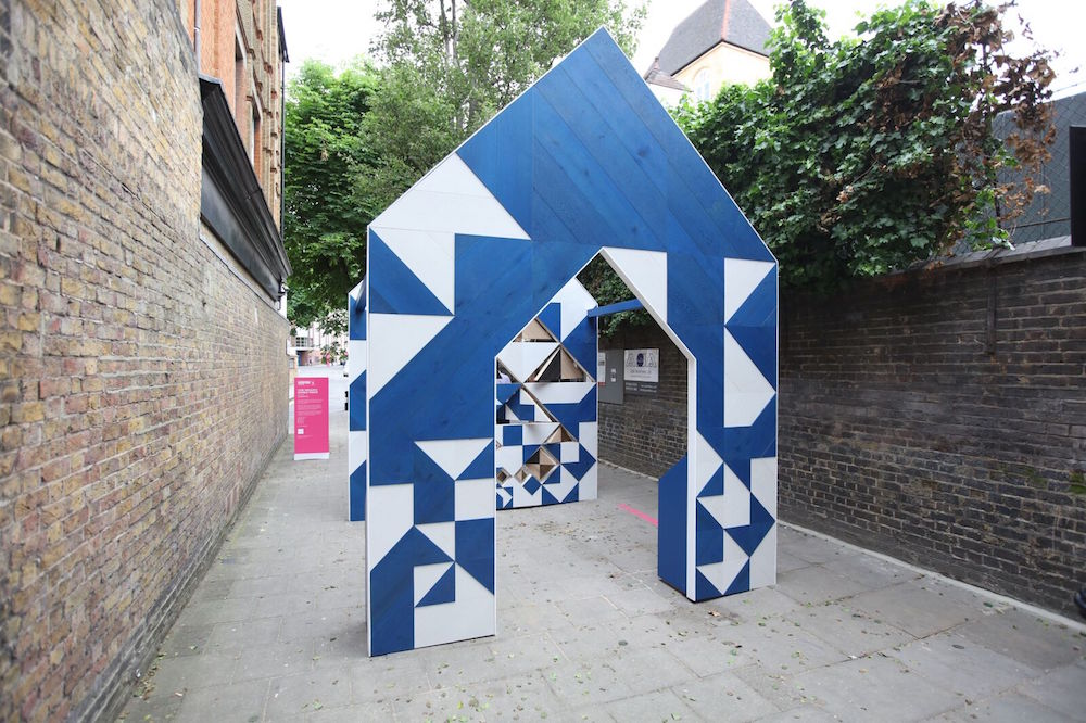 blue and white sculpture