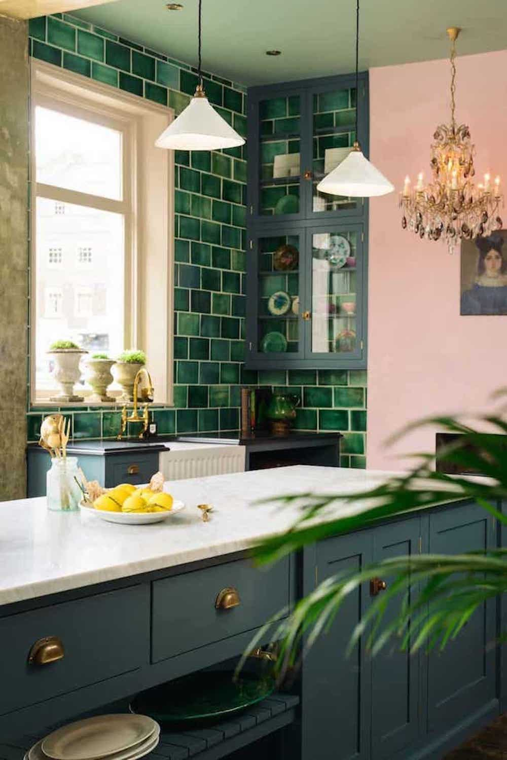 green 1930s tiles against pink walls
