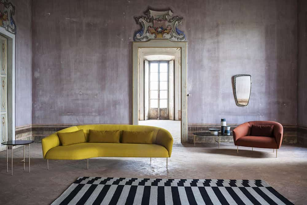 mustard sofa striped rug