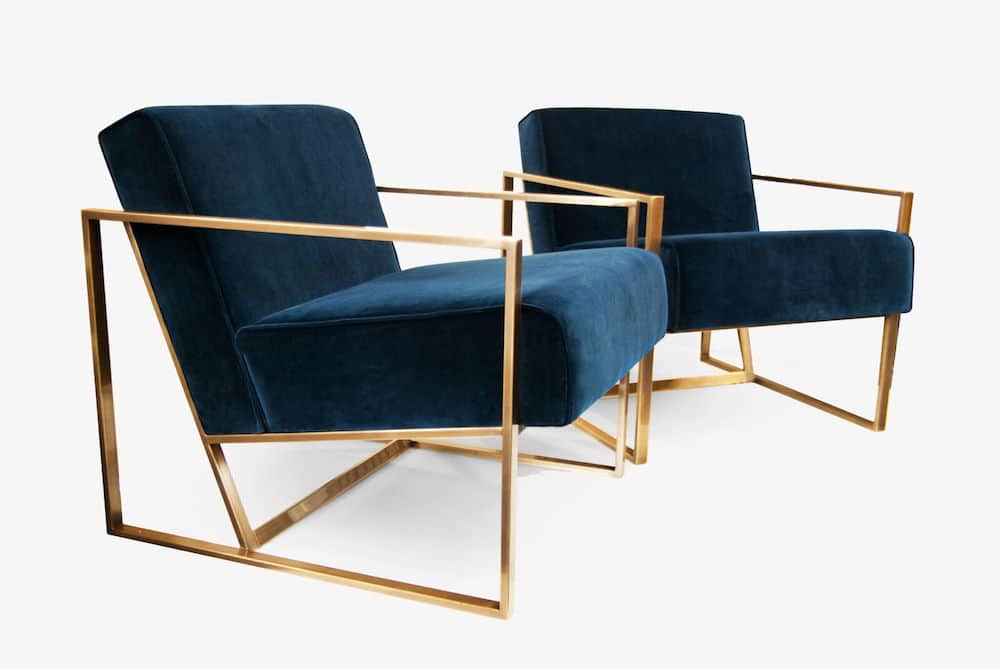 blue and gold armchairs