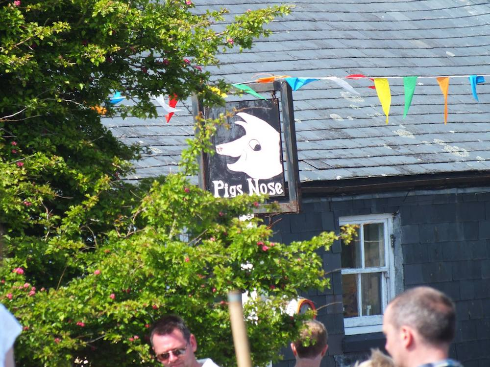 Pub sign with a pig on it, people standing outside drinking, bunting and trees