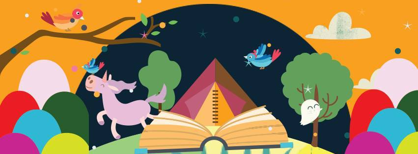 colourful illustration of unicorns, book, birds and trees