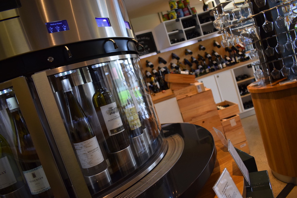 wine merchant and lounge with bottles in a serving system