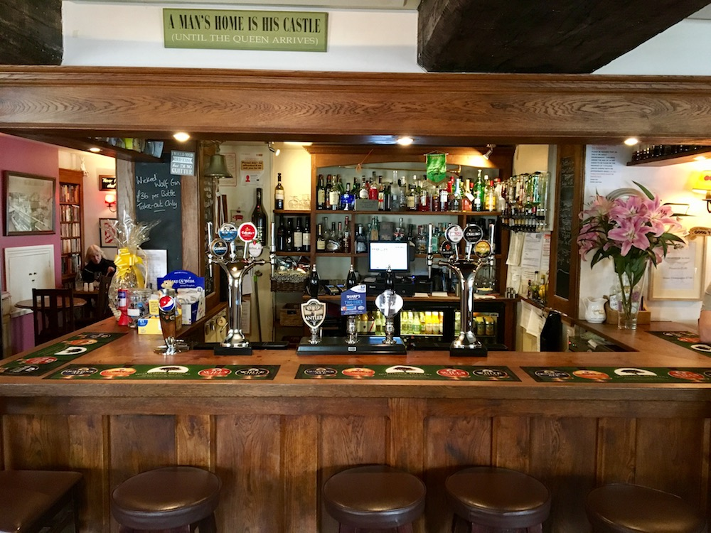 traditional oak bar in the swan pub