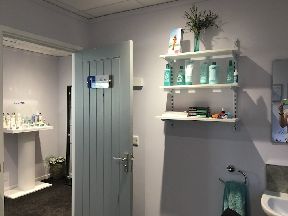 interior of treatment room at five cedars with elemis products