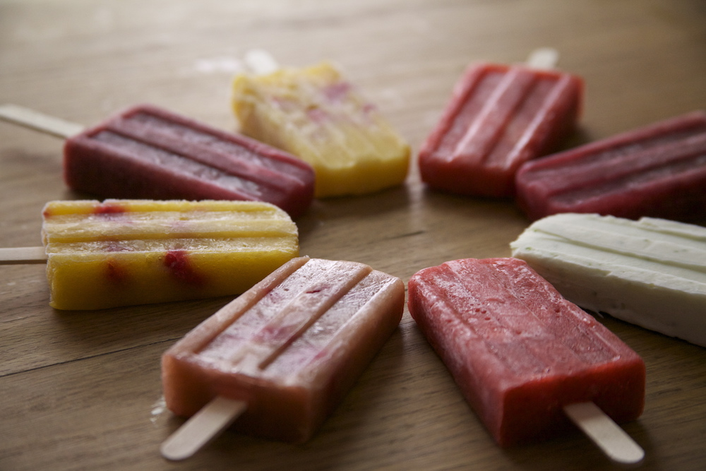 selection of colourful fruity ice lollies