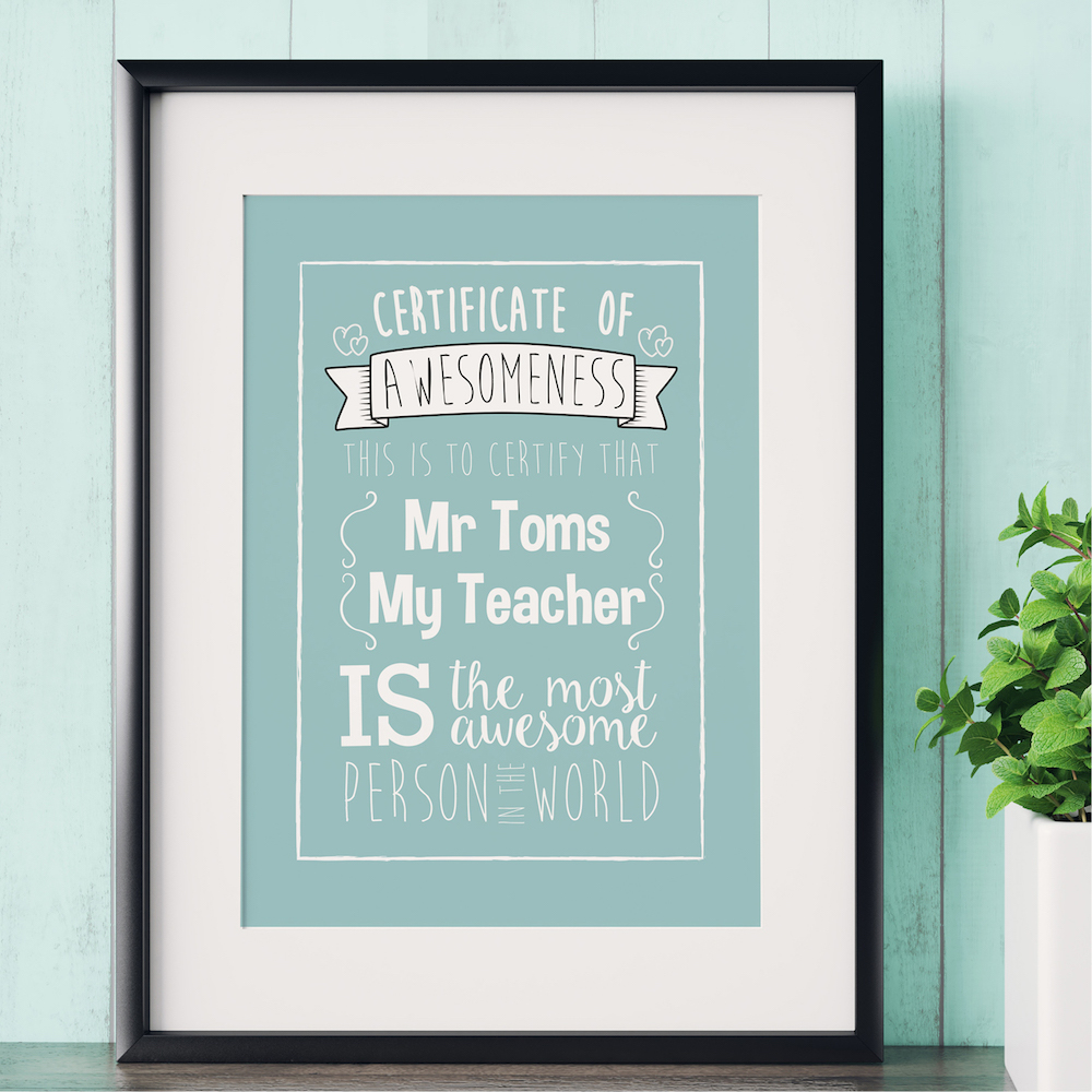 personalised print against blue wall