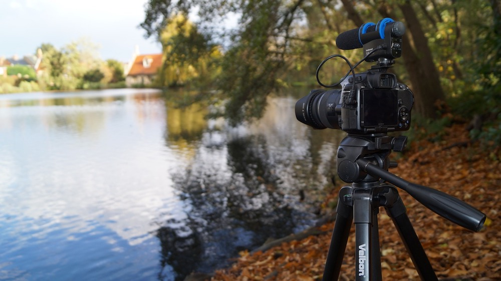 camera on a tripod looking out over a lake with autumn coloured leaves
