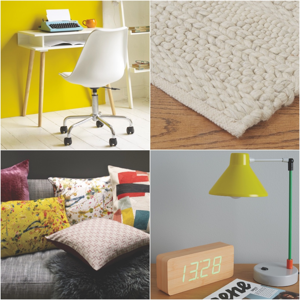 cushions, white desk and chair, cream woven rug and digital clock