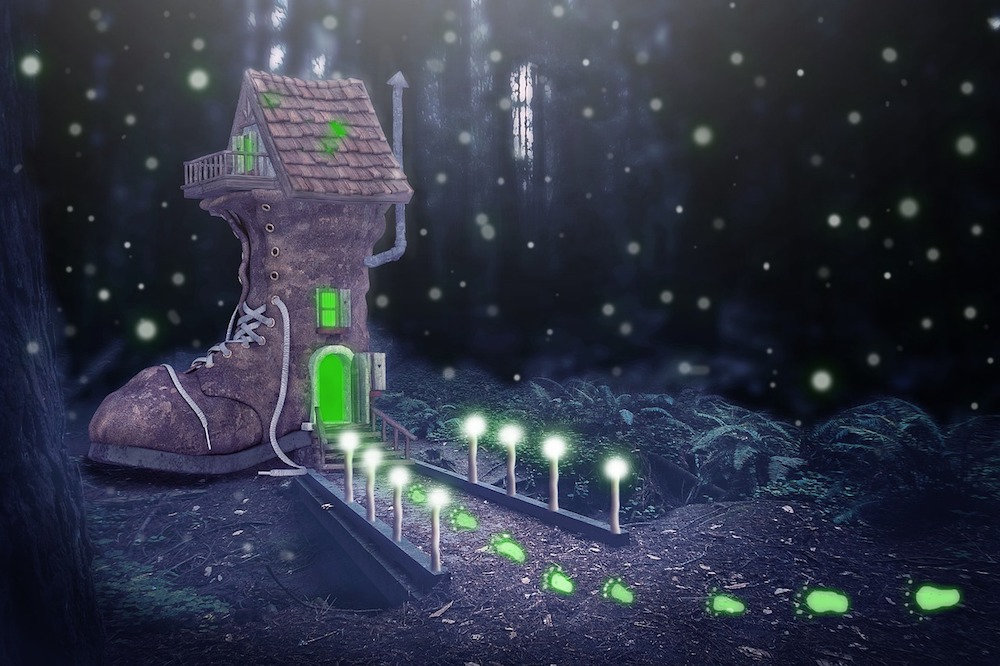 magical image of a boot with a house in it