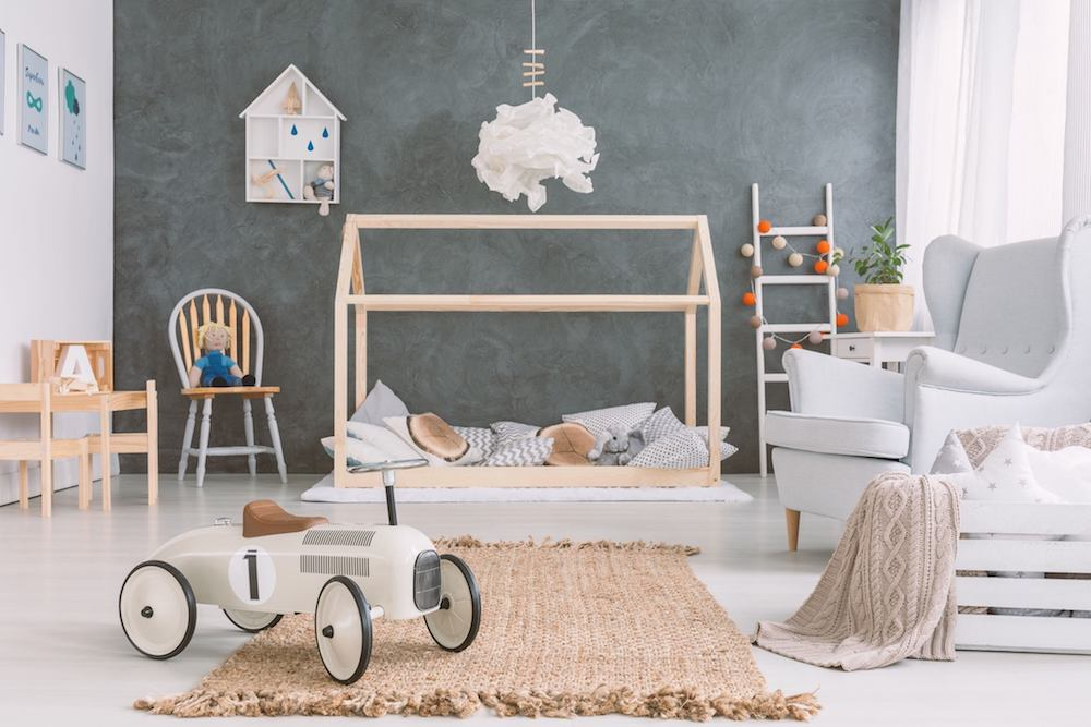 children's nursery with toys, cot, decoration