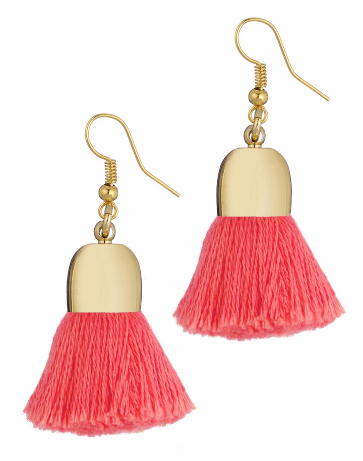 pink and gold tassel earrings
