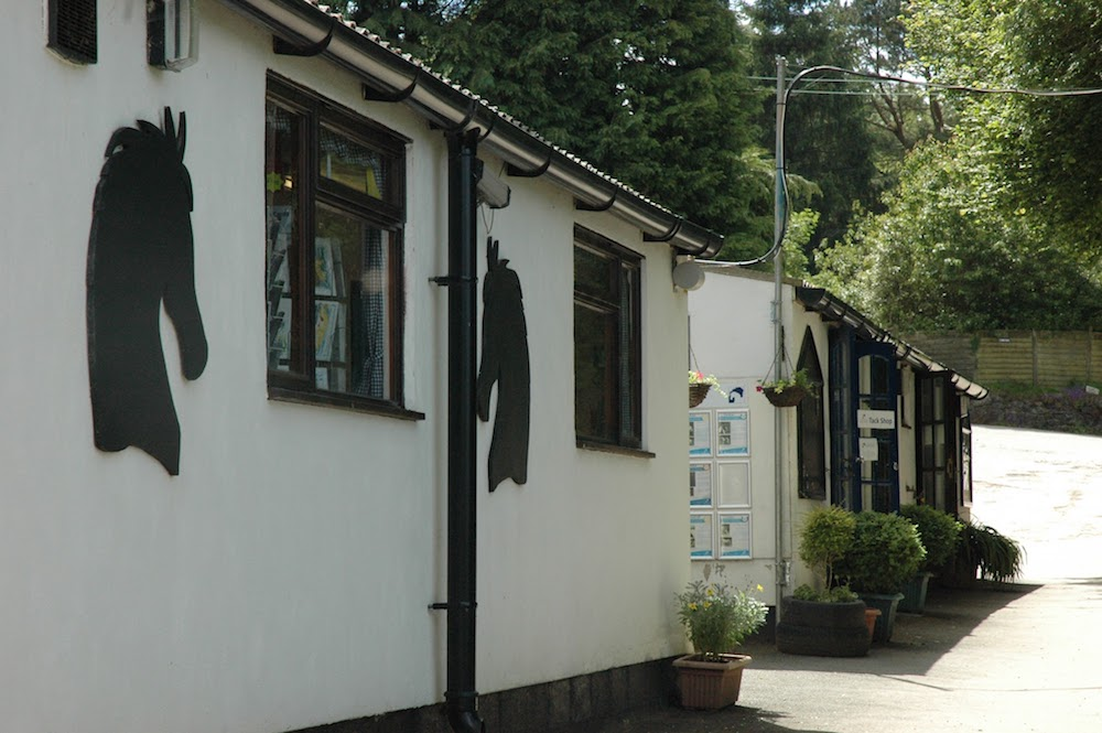 exterior of mare and foal centre, white building with black horse heads on