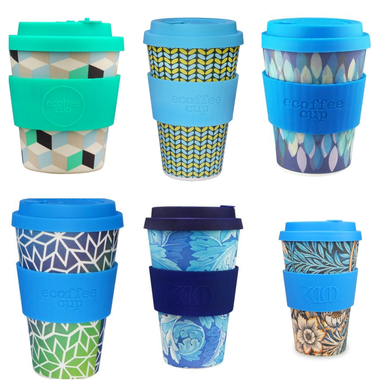 selection of brightly coloured blue reusable coffee cups in various designs