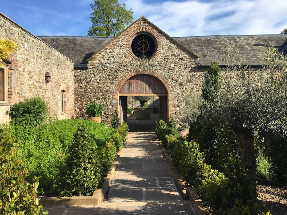 garden with stone archway
