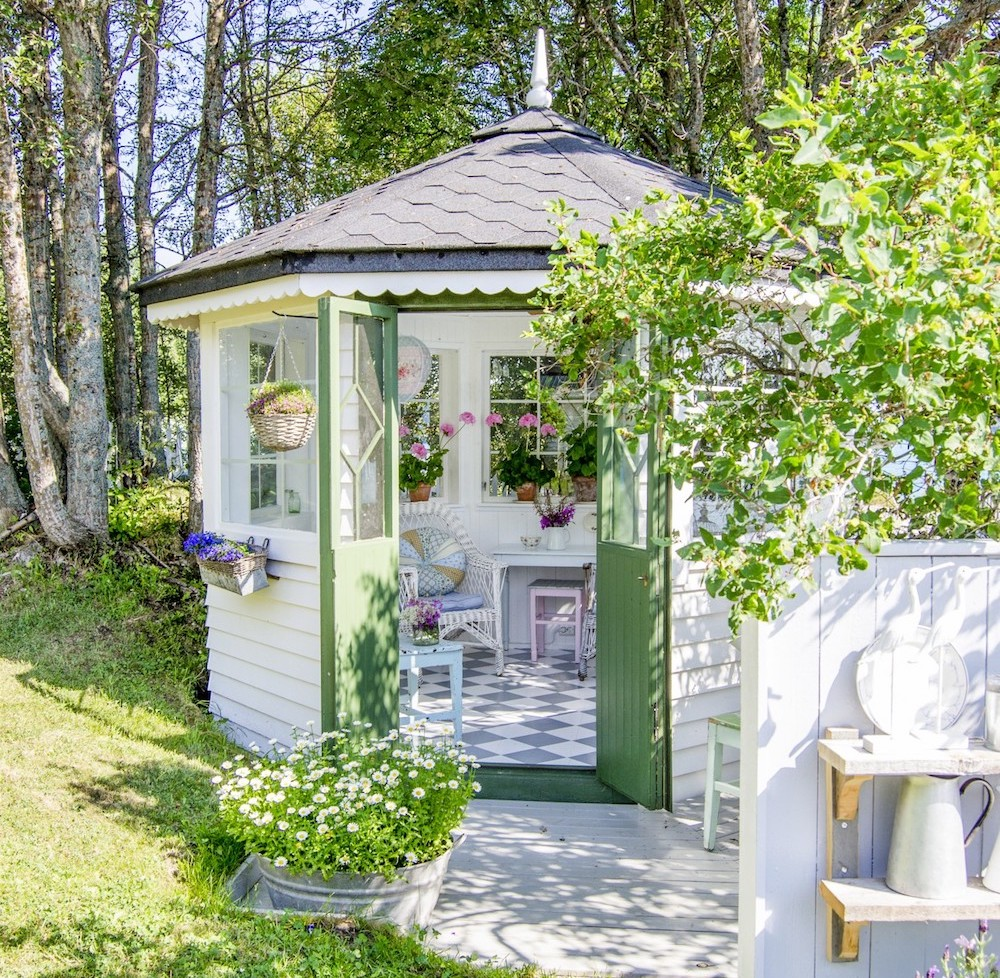green and white summerhouse