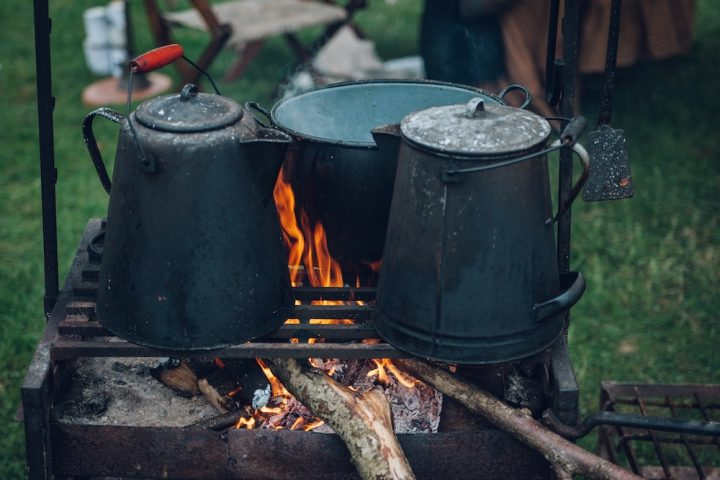 campfire stove and pans