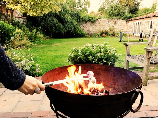 firebowl and marshmallows