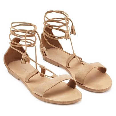 tan tassel summer sandals