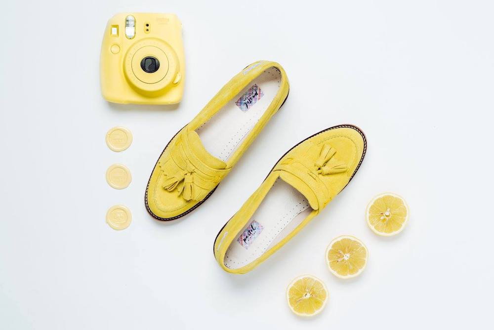 yellow suede loafers, lemons and yellow camera