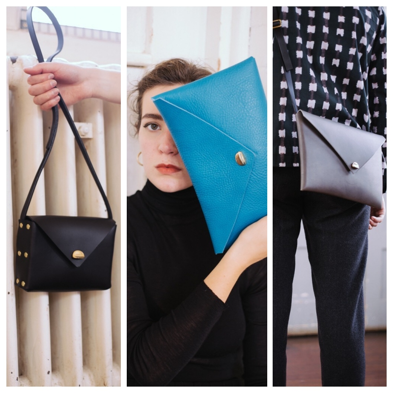 black, blue and grey leather clutch bags