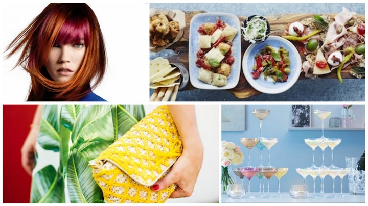 collage of food fashion and interiors