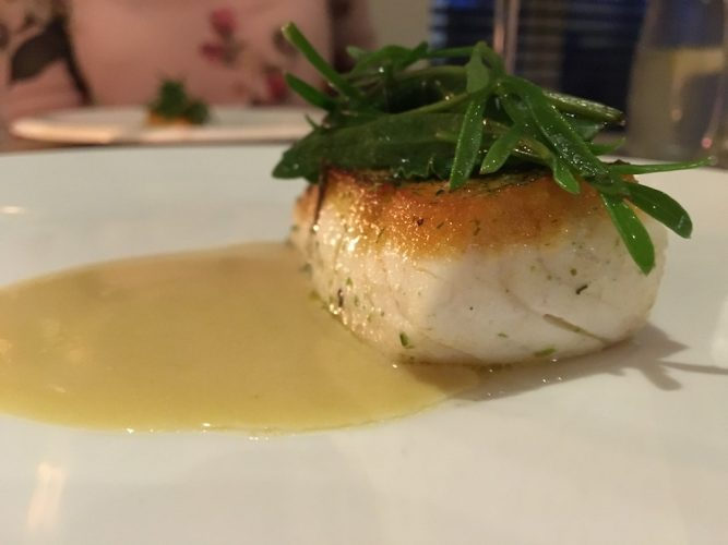 halibut, sea vegetables and pine nut butter sauce