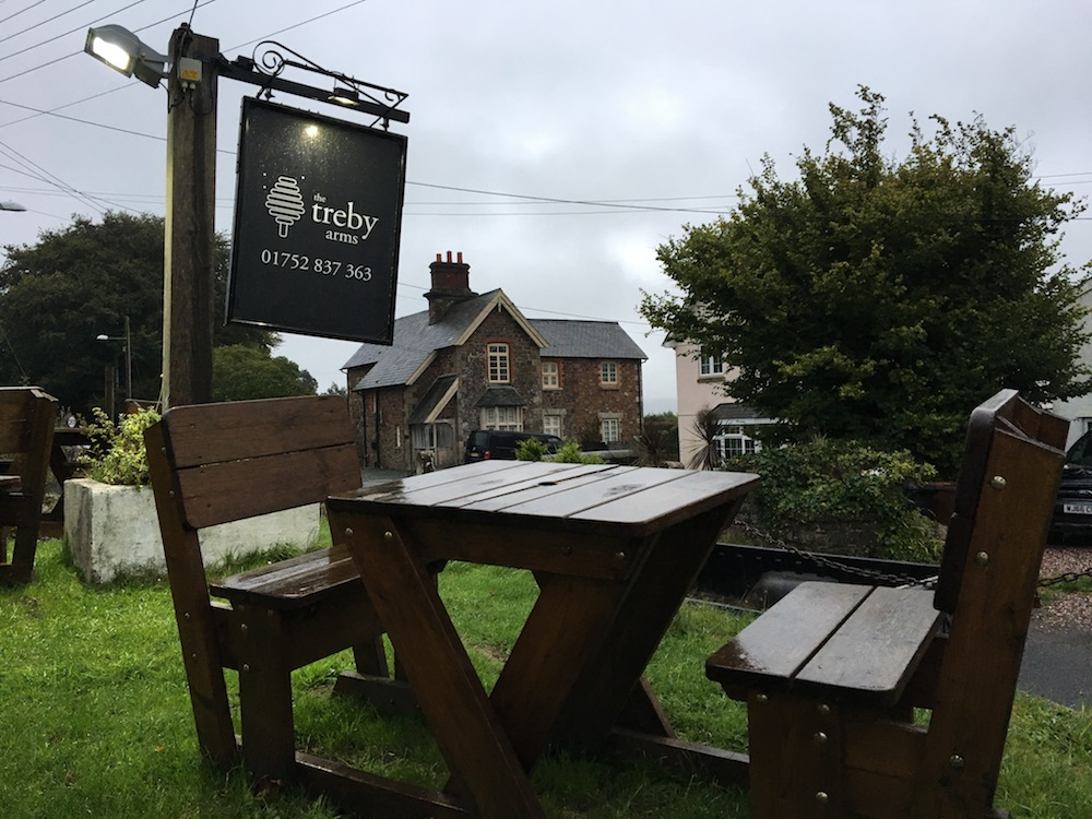 treby arms sign, outdoor seating