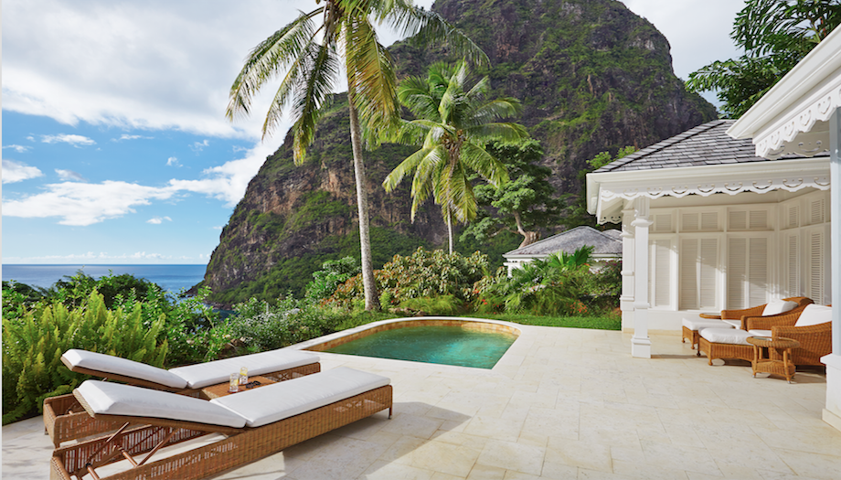 sun lounger, plunge pool, mountains, palm trees