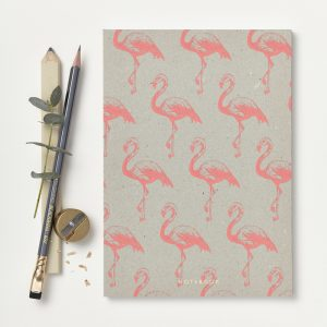 flamingo notebook and pen