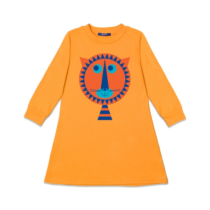 children's orange dress with lion
