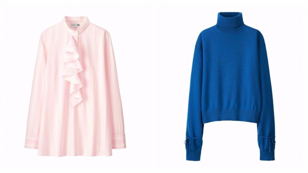Pink ruffle blouse and blue jumper