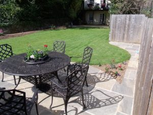 Garden landscaped with garden furniture