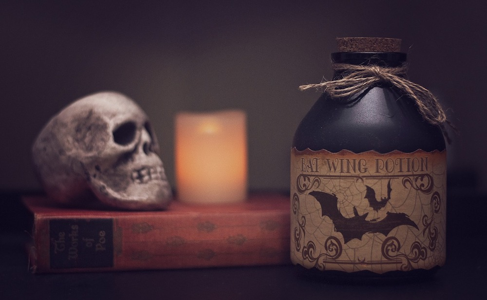 skull and potion and candle