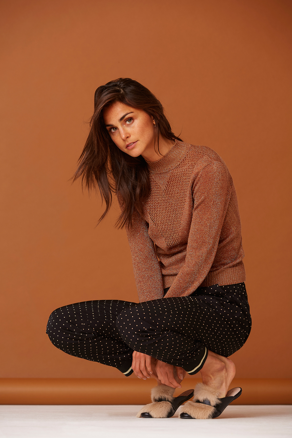 Lorna Ruby Copper Knit and Polka Pants