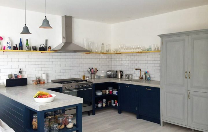 concrete kitchen and white tiles