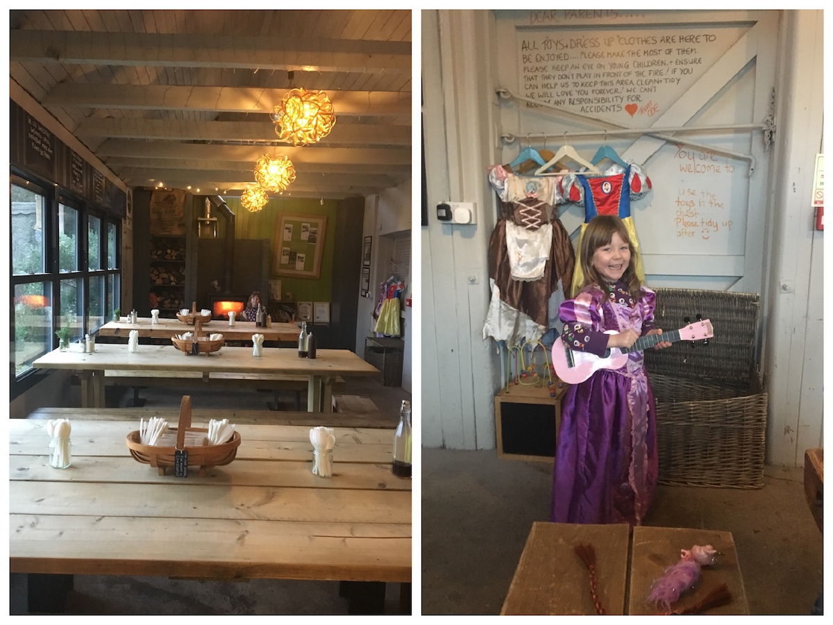 interior cafe child in dressing up clothes princess dress guitar