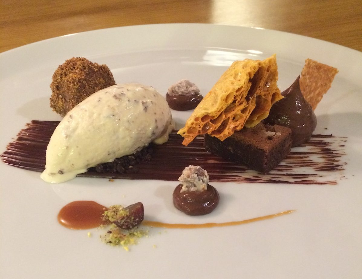 chocolate dessert on white plate