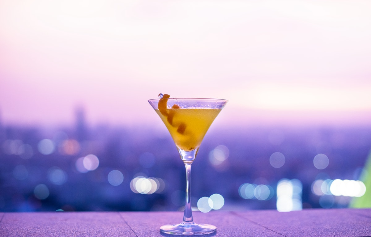 cocktail against purple hazy skyline