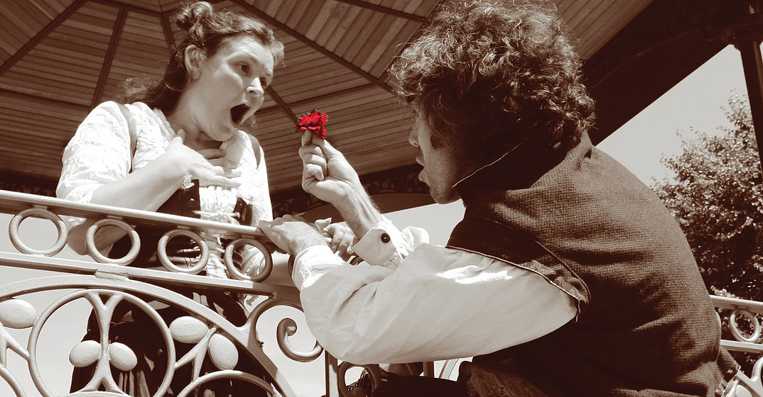 Romeo and juliet with red rose