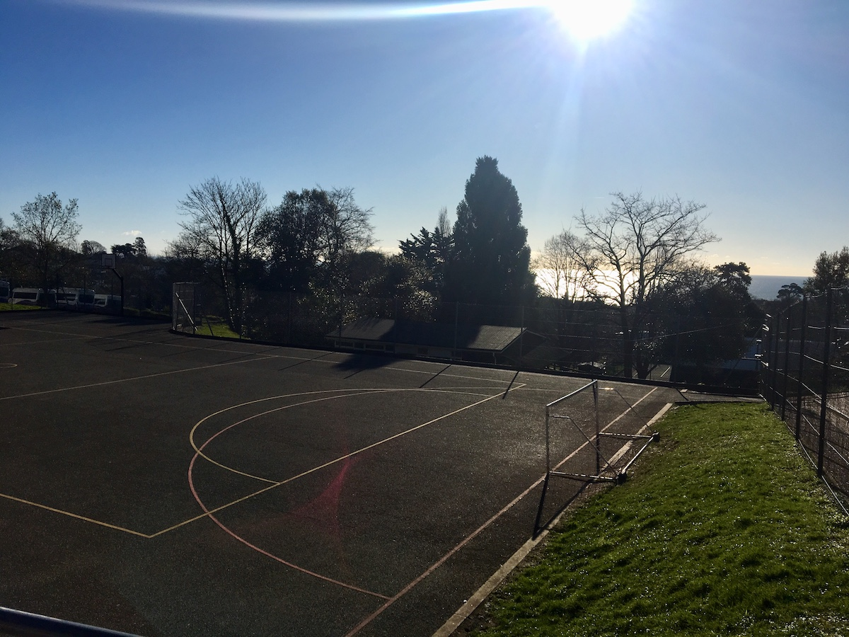 netball court with sea view