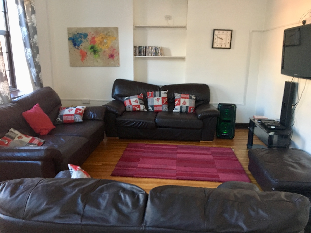 leather sofas and red rug in living room