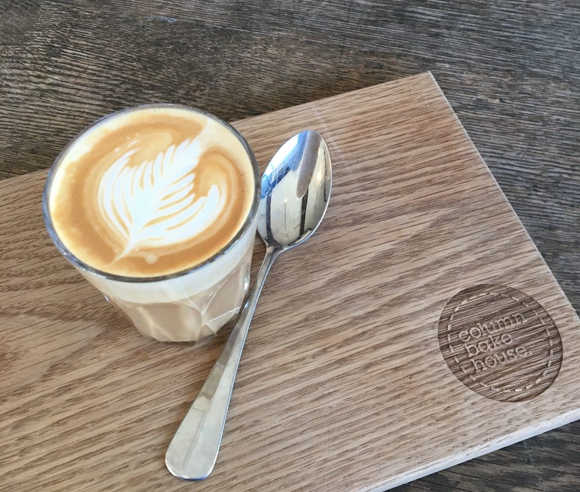 latte on chopping board spoon