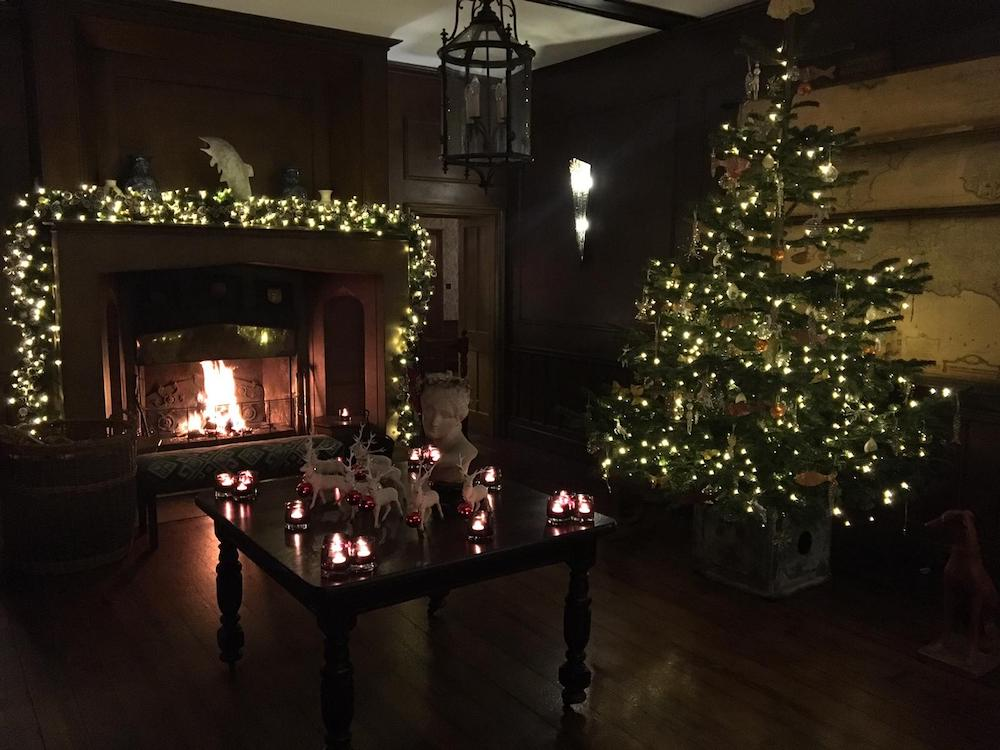 Christmas tree fireplace candles