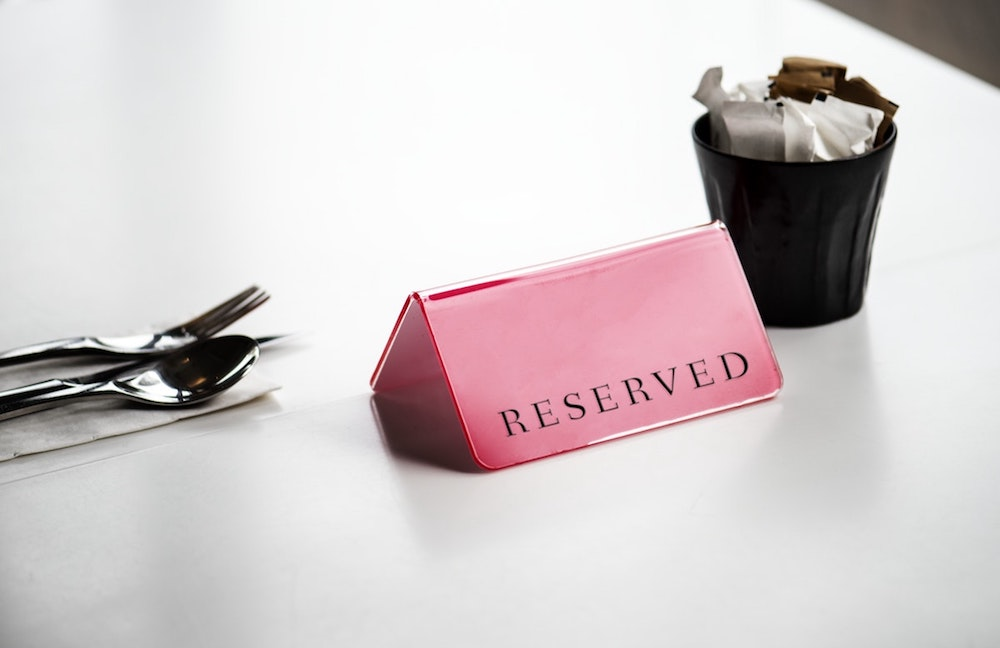 dinner table reserved sign