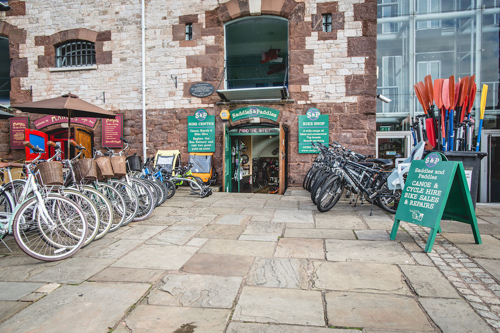 Exterior bike shop canal arches
