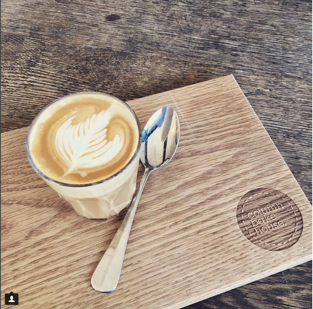 coffee on chopping board with spoon