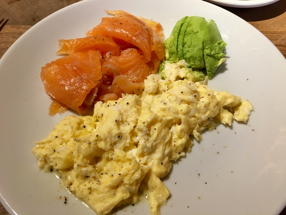 scrambled egg smoked salmon avocado