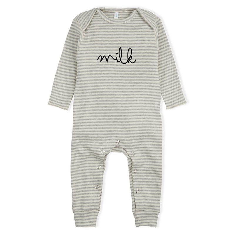 grey romper with milk word